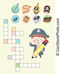 illustrazione, pirata, croce, ragazzo, capretto, puzzle, parola