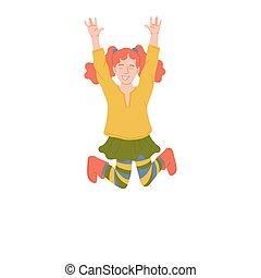 illustrazione, poco, carino, isolated., saltare, felice, gioia, ragazza, vettore, zenzero, appartamento