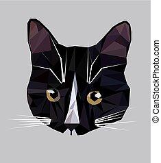 illustrazione, poly, gatto, vettore, basso, icon.