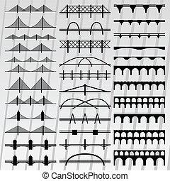 illustrazione, ponte, silhouette, collezione, fondo