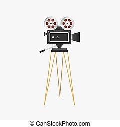 illustrazione, projector., film, cinema, macchina fotografica, vettore, vendemmia