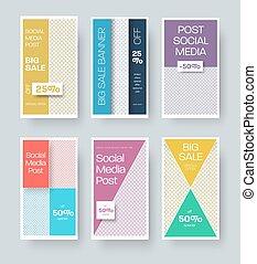 illustrazione, promotion., storie, posto, speciale, sconti, geometrico, foto, bandiera, sagoma, affari, offerta