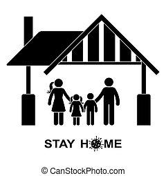 illustrazione, quarantena, casa, bambini, self-isolation, pandemia, donna, silhouette, icona, figura, pictogram., globale, vettore, uomo, prevenzione, famiglia, stare, bastone