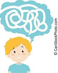 illustrazione, ragazzo, pensare, labirinto, puzzle, capretto