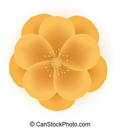 illustrazione, realistico, fiore, vettore, dorato, icon., 3d, eps10