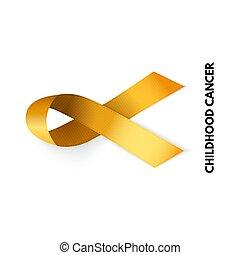 illustrazione, ribbon., infanzia, oro, cancro, vettore, segno.