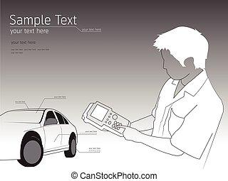 illustrazione, riparazione, meccanico, tecnico, automobile, automobile