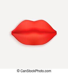 illustrazione, rosso, 3d, realistico, vettore, eps10, lips.