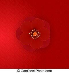 illustrazione, rosso, realistico, fiore, vettore, icon., 3d, eps10