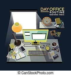 illustrazione, routine, isometrico, ufficio, appartamento, 3d