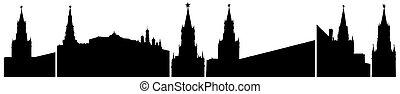 illustrazione, russia, isolato, set., silhouette, vettore, mosca, cremlino