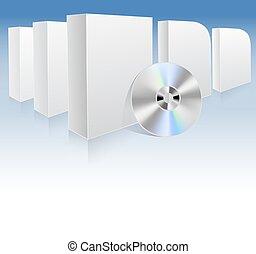 illustrazione, scatole, vettore, dvd., fondo, bianco