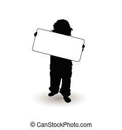illustrazione, scheda, bambino