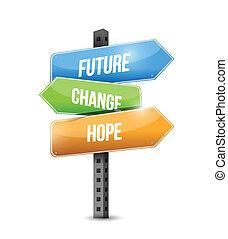 illustrazione, segno, disegno, cambiamento, futuro, speranza