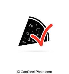 illustrazione, segno, vettore, pizza, rosso, icona