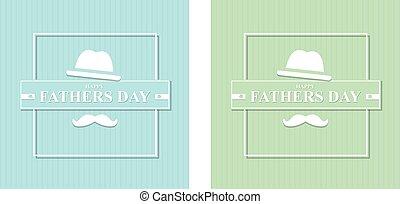 illustrazione, set, felice, hat., padri, baffi, giorno, vettore