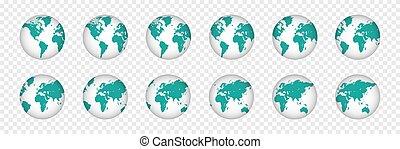 illustrazione, set, realistico, pianeta, globo, mondo, maps., 3d
