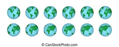 illustrazione, set, realistico, pianeta, mappe, 3d