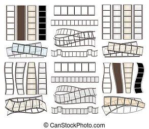 illustrazione, set, striscie, vettore, vuoto, film, white.