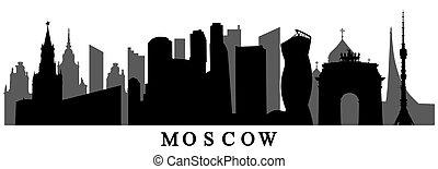 illustrazione, silhouette, edifici., città, vettore, famoso, mosca