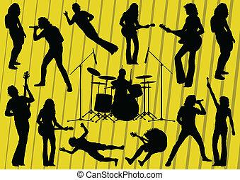 illustrazione, silhouette, musicisti, collezione, fondo, roccia