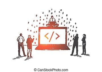 illustrazione, sketch., mano, disegnato, concetto, vettore, servizio, isolato, saas, software