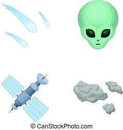 illustrazione, stile, set, solare, spazio, simbolo, alien., web., meteorite, faccia, stazione, asteroide, collezione, automobile, batterie, icone, vettore, cartone animato, nave, casato