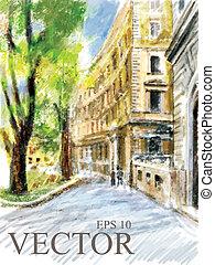 illustrazione, strada., città