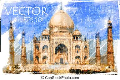 illustrazione, taj, india, mahal, vettore