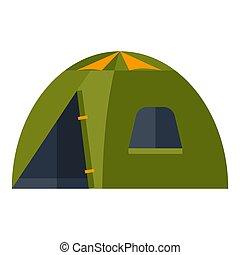 illustrazione, tent., travel., icona, turismo, immagine, o