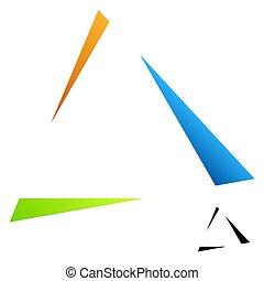 illustrazione, triangolo, logotipo, triangolo, triangolare, logotype, delta, vettore