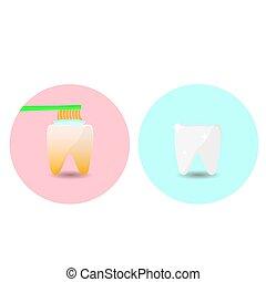 illustrazione, uno, stile, facile, appartamento, vettore, dentale, denti, dentifricio, circa, importanza, tuo, bandiera, cura, brush., spazzola, modi
