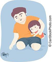 illustrazione, uomo, ragno, capretto, ragazza, babbo