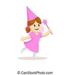 illustrazione, vestito, isolato, fata, cartone animato, fondo., vettore, ragazza, appartamento, carattere, holiday., bianco