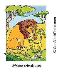 illustrazione, vettore, leone