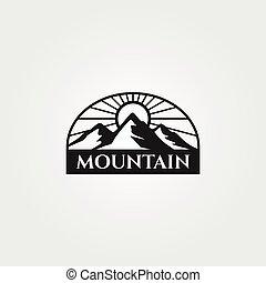 illustrazione, vettore, logotipo, montagna, avventura, disegno, disegno, vendemmia, retro, emblema, esterno