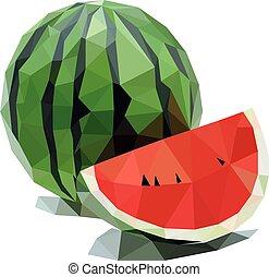 illustrazione, vettore, polygonal, isolato, anguria