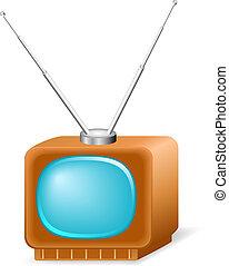 illustrazione, vettore, retro, tv.