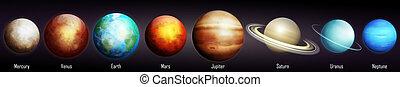 illustrazione, vettore, sistema solare, pianeti