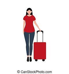 illustrazione, viaggio, va, turista, donna, disegno, valigia, cartone animato, vettore, vacation., appartamento