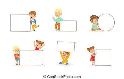 illustrazione, vuoto, vettore, presa a terra, ragazze, vuoto, bandiere, poco, ragazzi, bambini, set, whiteboards, carino, cartone animato