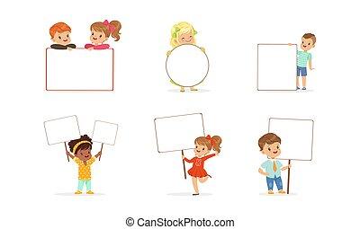illustrazione, vuoto, vettore, presa a terra, ragazze, vuoto, bandiere, signboards, poco, ragazzi, bambini, set, carino, cartone animato