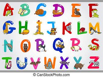 illustrazioni, alfabeto, animali, cartone animato