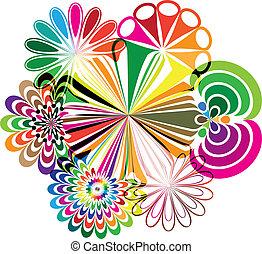 illustrazioni, astratto, fiori