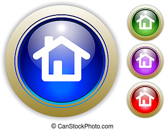 illustrazioni, casa, bottone, vettore, tre