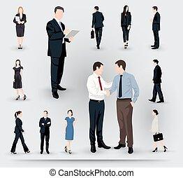 illustrazioni, collezione, persone affari