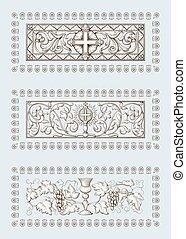 illustrazioni, incisione, cristianesimo, stile, set, religioso, vecchio, simboli, croce, grail., includere, biblico