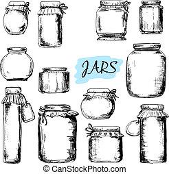 illustrazioni, jars., set