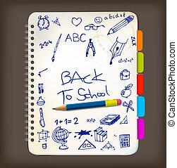 illustrazioni, scarabocchiare, scuola, indietro, manifesto