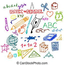 illustrazioni, scuola, -, indietro